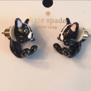 Kate Spade French Bulldog earrings